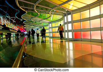 Modern colorful architectural tunnel in Chicago airport -...