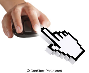 computer cursor and hand using mouse as computer concept