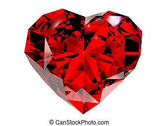 vermelho, diamante, 3D