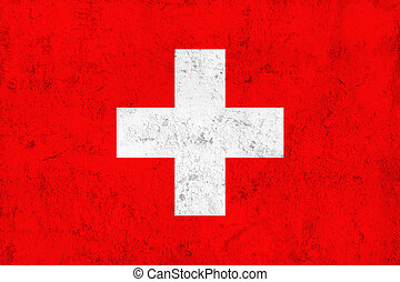 Grunge Dirty and Weathered Swiss Flag, Old Metal Textured