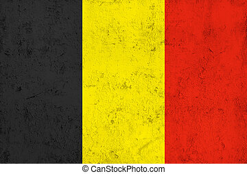 Grunge Dirty and Weathered Belgian Flag, Old Metal Textured