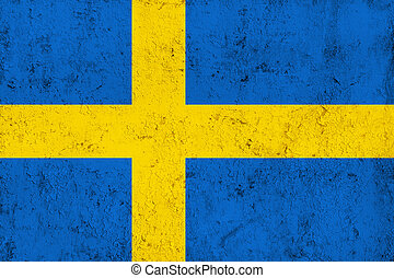 Grunge Dirty and Weathered Swedish Flag, Old Metal Textured