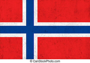 Grunge Dirty and Weathered Norwegian Flag, Old Metal...