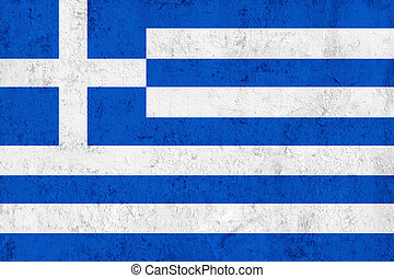 Grunge Dirty and Weathered Greek Flag, Old Metal Textured