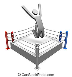 WinnerOnBoxingRing - Winner On Boxing Ring 3D render...