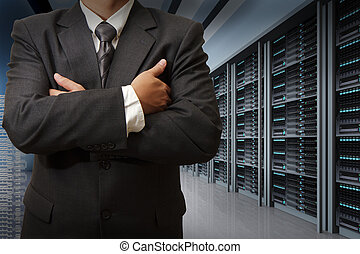 business man engineer in data center server room