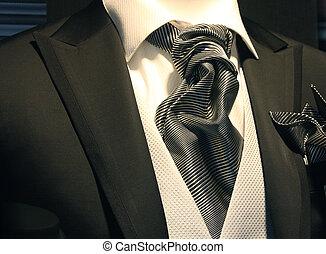 elegante, esmoquin, agradable, brillante, corbata