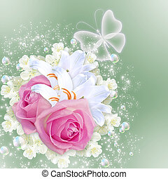 Roses and lilies - Card with pink roses and white lilies