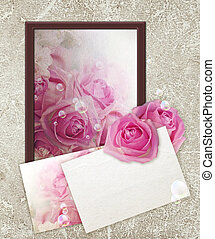 Photo frame with roses and paper
