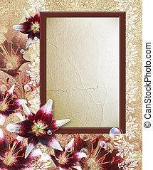 Photo frame with lily - Old grunge background with photo...