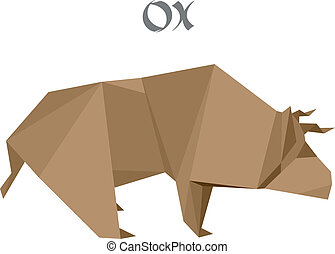 origami ox - illustration of an origami ox