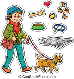 pet dog - boy walking with his dog plus set of items related...