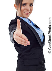 business woman putting out her hand - Portrait of a young...