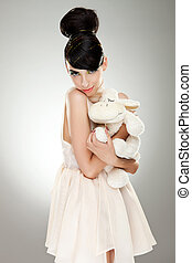 woman model hugging her fluffy sheep toy - appealing young...