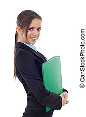 Young business woman holding a portfolio