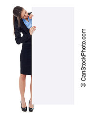 Young business woman holding sign - Young business woman...