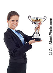 young business woman holding a trophy