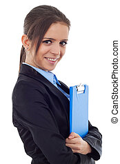 young business woman holding a clipboard
