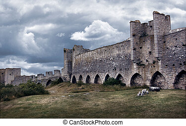 Medieval city wall defence - Medieval city wall in dark...
