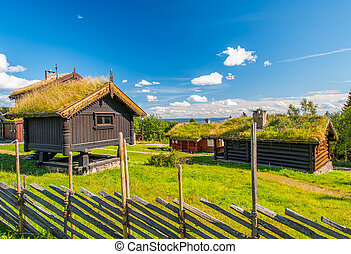 grass roof country house - Norwegian typical grass roof...