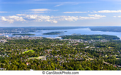 birdview of Oslo - Panorama view of Oslo, Norway
