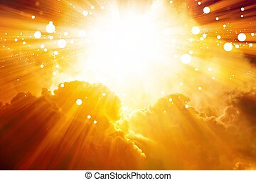 Abstract sunset background - bright sun shines from above,...