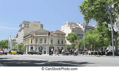 Street traffic timelapse. - BARCELONA - AUGUST 11, 2012:...