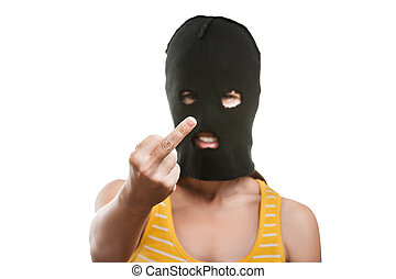 Woman in balaclava showing middle finger hand gesture -...
