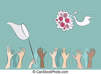 Catch the wedding bouquet - Hands of bridesmaids catching...
