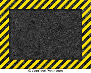 Grunge Black and Yellow Surface as Warning Frame - Grunge...
