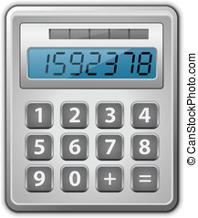 Calculator - Metallic office calculator. Vector illustration