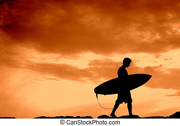 Sunset Surfer - Vacation Silhouette Of A Surfer Carrying His...