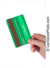 fake green credit card 3 - a child holding a credit card...