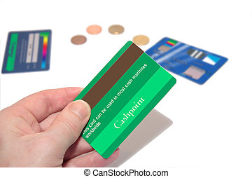 fake green credit card 4 - a man holding a credit card (made...