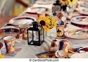 children's banquet - the long banquet table is decorated...