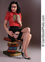 retro vintage librarian - Retro fifties pin-up attractive...