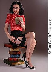retro vintage librarian - Retro fifties pin-up attractive...
