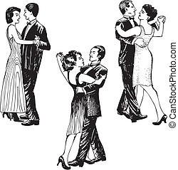 Dancing couples Set of black and white vector illustrations...