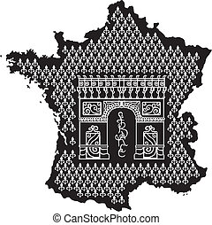 Contour of France with Arc de Triomphe. Black and white...
