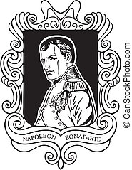 Portrait of Napoleon Bonaparte. Black and white vector...
