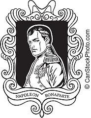 Portrait of Napoleon Bonaparte. Black and white vector...