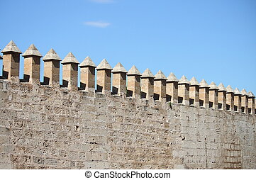 Castle battlements - Battlements of Almudaina Palace in...