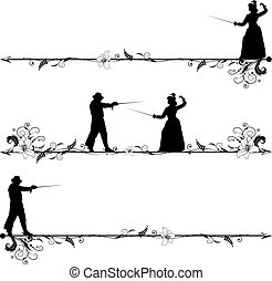 fencing people - set of vector vignettes with fencing people