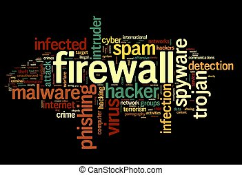 Firewall concept in tag cloud - Firewall concept in word tag...