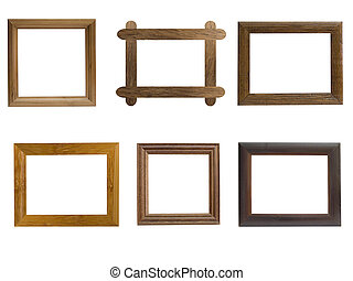 Frames from natural wood on a white background
