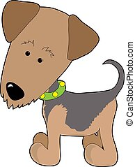 Airedale Terrier - A cartoon of a Airedale Terrier on a...
