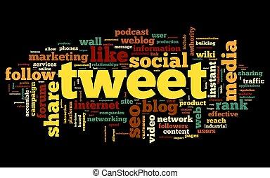 Tweet word in tag cloud on black