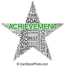 Achievement concept in tag cloud - Achievement and success...