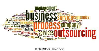 Business process outsourcing concept in word tag cloud on...