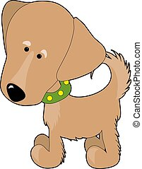 Golden Retriever - A cartoon of a Golden Retriever on a...